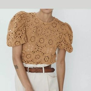 Tops - SOLD Zara knit crochet clay see through too